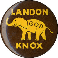 Landon and Knox: GOP elephant logo celluloid pinback