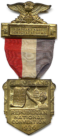 Alfred M. Landon: 1936 RNC Honorary Asst. Sergeant-at-Arms badge