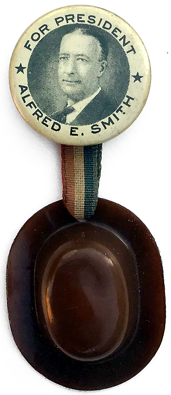 Alfred E. Smith: FOR PRESIDENT picture button with derby hat