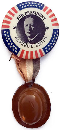 Alfred E. Smith: Scarce FOR PRESIDENT picture button with derby hat
