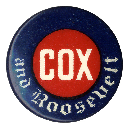 Cox and Roosevelt: Scarce celluloid logo button