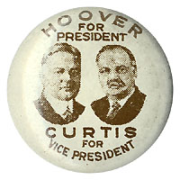 Hoover and Curtis: Scarce jugate litho pinback