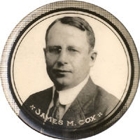James M. Cox: Real photo portrait pinback