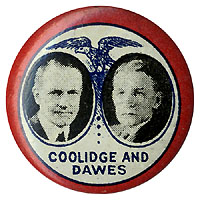 Coolidge and Dawes: Scarce litho eagle jugate pinback
