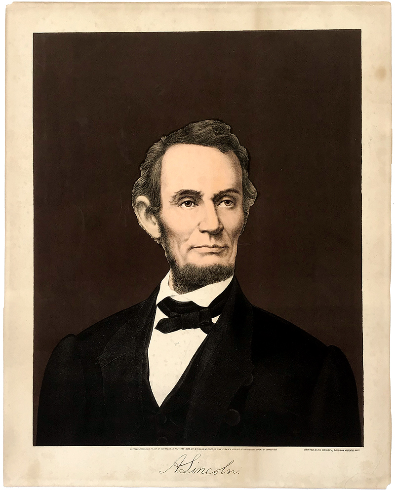 Abraham Lincoln: Early 1865 presidential color portrait lithograph