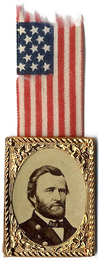 Ulysses Grant: Photographic badge with flag ribbon