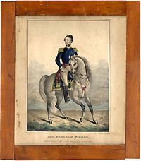 Franklin Pierce: Rare equestrian print by Kellogg