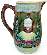 Ulysses Grant: Large majolica portrait pitcher