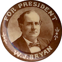 William Jennings Bryan: Scarce Indianapolis Photo Button Mfg. Co. pinback