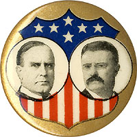 McKinley and Roosevelt: Classic Union shield jugate pinback
