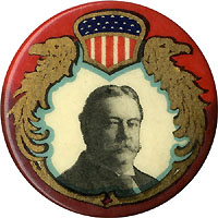 William Howard Taft: Nouveau shield portrait pinback