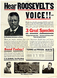 Theodore Roosevelt: HEAR ROOSEVELT'S VOICE!! Edison phonograph record advertising poster