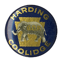 Harding and Coolidge: Gold & blue keystone logo button