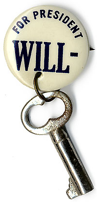 Wendell Willkie: FOR PRESIDENT WILL-KEY rebus pinback