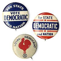 Roosevelt and Truman: STATE AND NATION Democratic Party pinbacks, plus