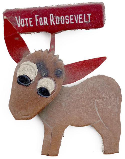Franklin D. Roosevelt: VOTE FOR ROOSEVELT leather donkey badge