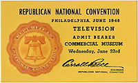 Thomas Dewey: 1948 RNC TELEVISION journalist ticket