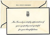 John F. Kennedy Assassination: Jacqueline Kennedy sympathy note card