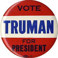 Harry Truman: Large VOTE TRUMAN FOR PRESIDENT button
