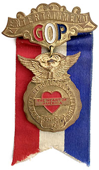 Herbert Hoover: 1928 RNC Entertainment badge