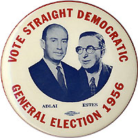 Stevenson and Kefauver: Large VOTE STRAIGHT DEMOCRATIC jugate pinback