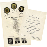 John F. Kennedy Assassination: Texas Welcome Dinner program and invitation