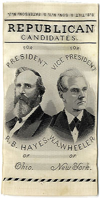 Hayes and Wheeler: Jugate REPUBLICAN CANDIDATES woven silk ribbon