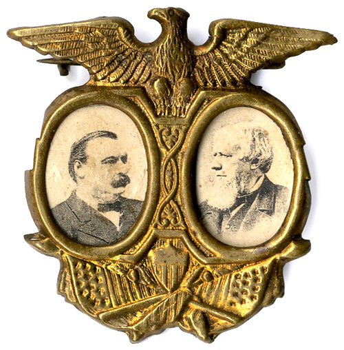 Cleveland and Thurman: Photographic jugate patriotic eagle shell badge