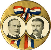 McKinley and Roosevelt: Large patriotic ribbon jugate pinback
