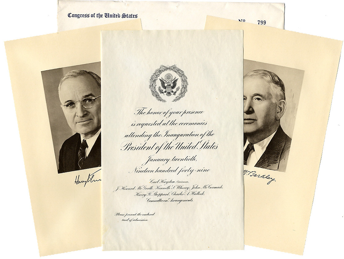 Truman and Barkley: 1949 inauguration invitation package