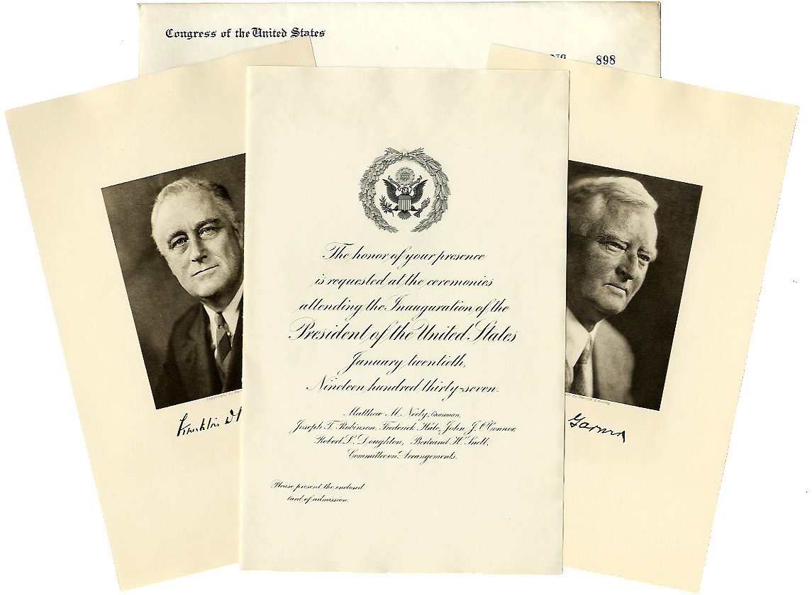 Roosevelt and Garner: 1937 inauguration invitation package