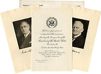 Roosevelt and Garner: 1933 inauguration invitation package