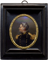 Zachary Taylor: Superb reverse-on-glass wall plaque