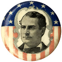 William Jennings Bryan: Uncommon stars-and-stripes portrait button