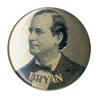 William Jennings Bryan: Unlisted silver background portrait stud