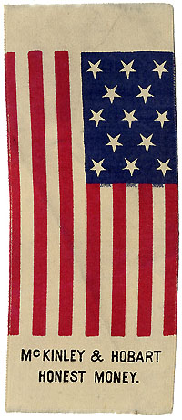 McKinley and Hobart: HONEST MONEY American flag campaign ribbon