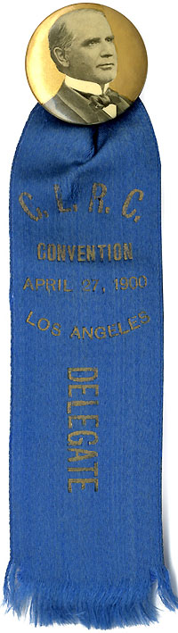 William McKinley: California Republican Clubs Delegate badge