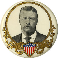 Theodore Roosevelt: Filigree-and-shield portrait button
