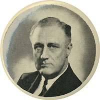 Franklin Roosevelt: Unlisted portrait pinback