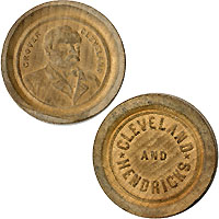Cleveland and Hendricks: Unusual wooden game marker