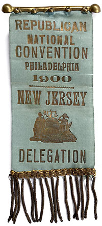 William McKinley: 1900 RNC New Jersey delegate badge