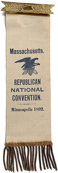 Benjamin Harrison: 1892 RNC Massachusetts delegate badge