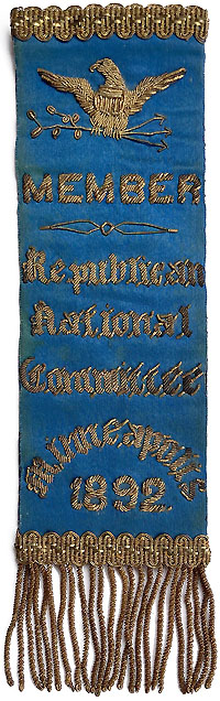 Benjamin Harrison: 1892 RNC Republican National Committee member badge
