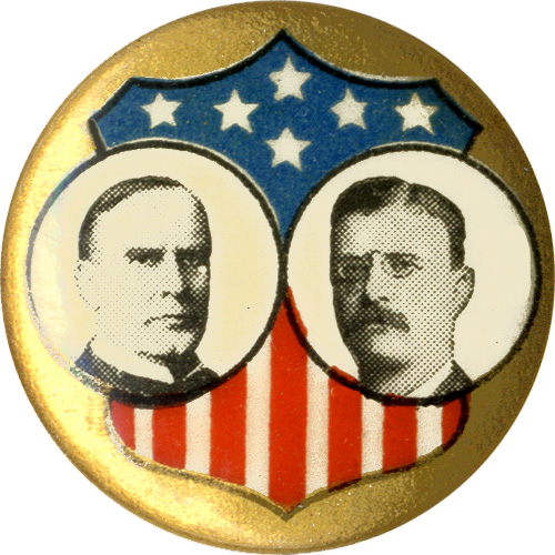 McKinley and Roosevelt: Classic shield jugate pinback