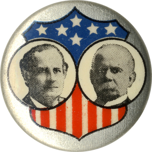 Bryan and Stevenson: Union shield jugate pinback
