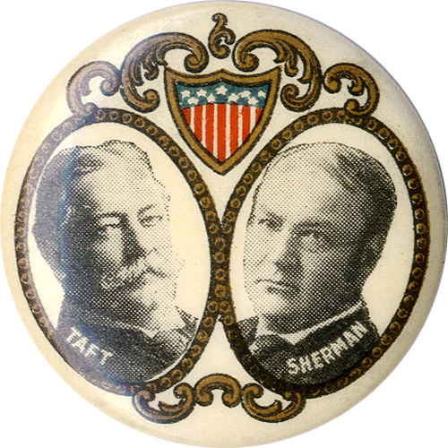 Taft and Sherman: Ornate filigree jugate pinback