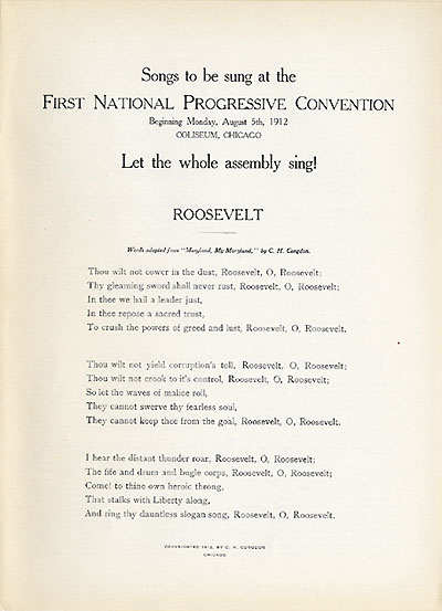 Songs to be sung at the First National Progressive Convention