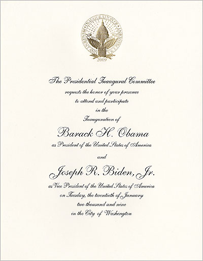 2009 Official Inaugural Invitation