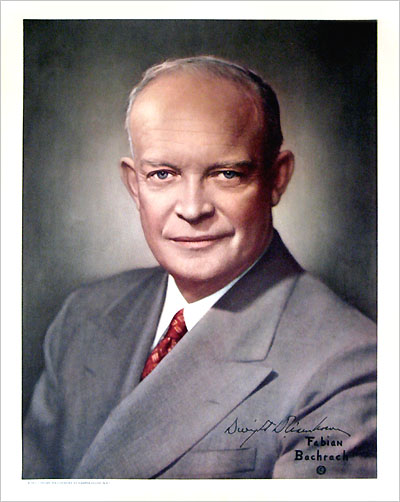 Dwight D. Eisenhower: Presidential portrait on satin