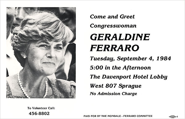 Come and Greet Congresswoman Geraldine Ferraro